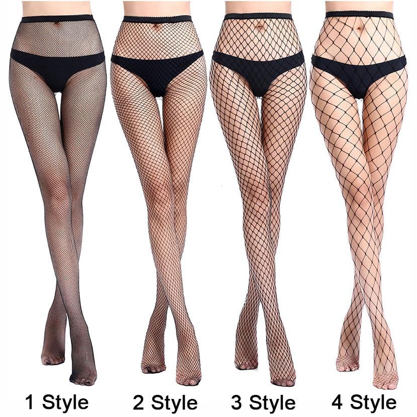 Women Sexy Transparent Slim Fishnet Pantyhose Club Party Net Holes Black Tights Thigh High Stockings Small/Middle/Big Mesh CW24(China)