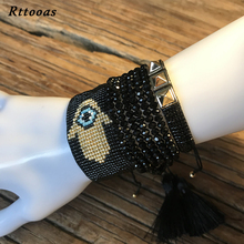 Rttooas Fatima Hamsa Hand Evil Eye Bracelet for Women Handmade Woven Beads Set Fashion Jewelry