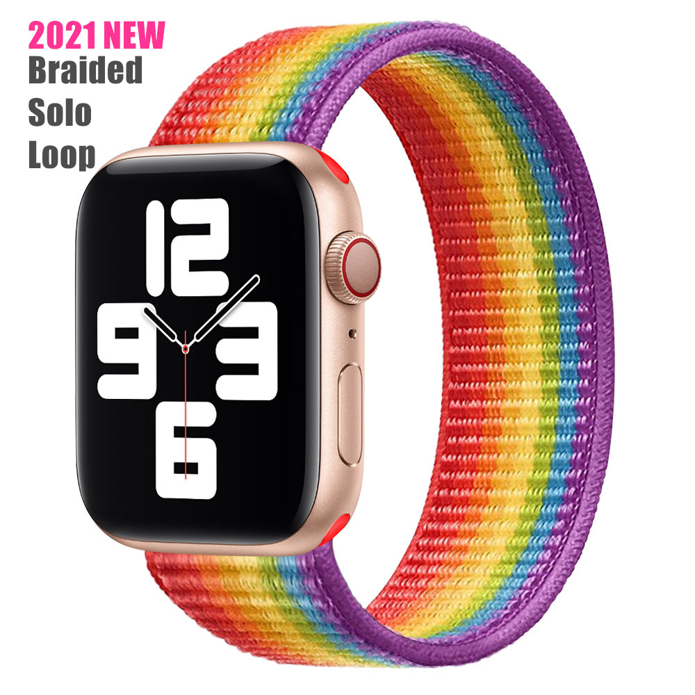 Correas de lazo trenzado para Apple Watch, tejido suave elástico de nailon para Apple Watch SERIE DE gomillas 6/SE/5/4/3/2021 38/40/42/44mm, novedad de 2/1