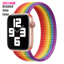 2021 nova atualização trançada correias de loop solo elástico macio tecer náilon para apple assistir bandas série 6/se/5/4/3/2/1 38/40/42/44mm