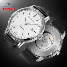 Часы с Чайкой Роскошные брендовые механические часы мужские часы кожаный ремешок 50 м водонепроницаемые механические часы D819.638