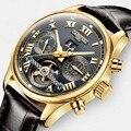 Tourbillon карнавальные мужские часы  роскошные деловые механические часы  мужские автоматические водонепроницаемые часы с кожаным каркасом  ...