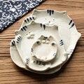 Милые животные кошка креативный керамический домашний соус тарелка фруктовый десерт торт Хлеб Суши блюдо диск кухонный инструмент шлифова...