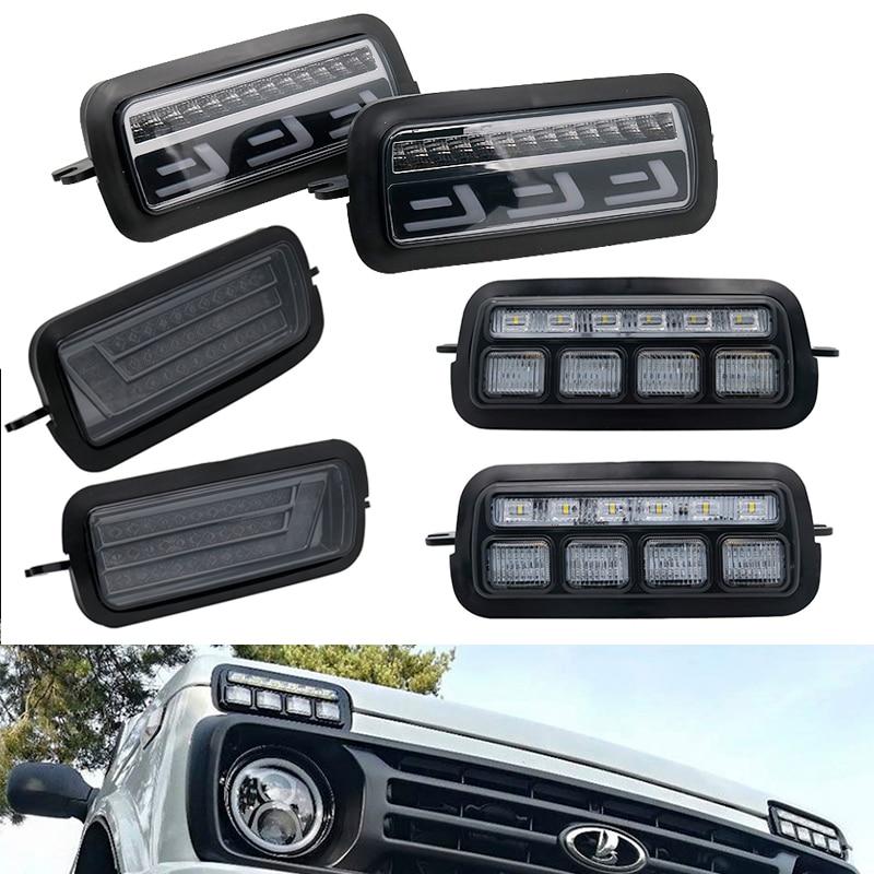 Luzes de led para carro, acessórios de plástico abs para lada niva 4x4 1995 drl ajuste de sintonização