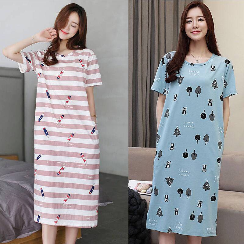 Women Night Gowns Cotton Sleepwear Nightwear Long Sleeping Dress Luxury Nightgown Women Casual NightDress Ladies Home Wear