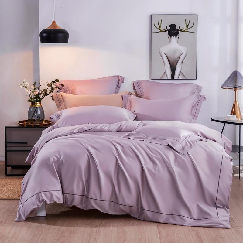 Light Purple Bedding Set Tencel Comforter Bedding Sets Long Staple Cotton Pillowcases Queen King Size Bed Bed Linen 4pcs Bedding Sets Aliexpress