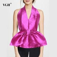Женская шифоновая блузка с бантом vgh Элегантная без рукавов