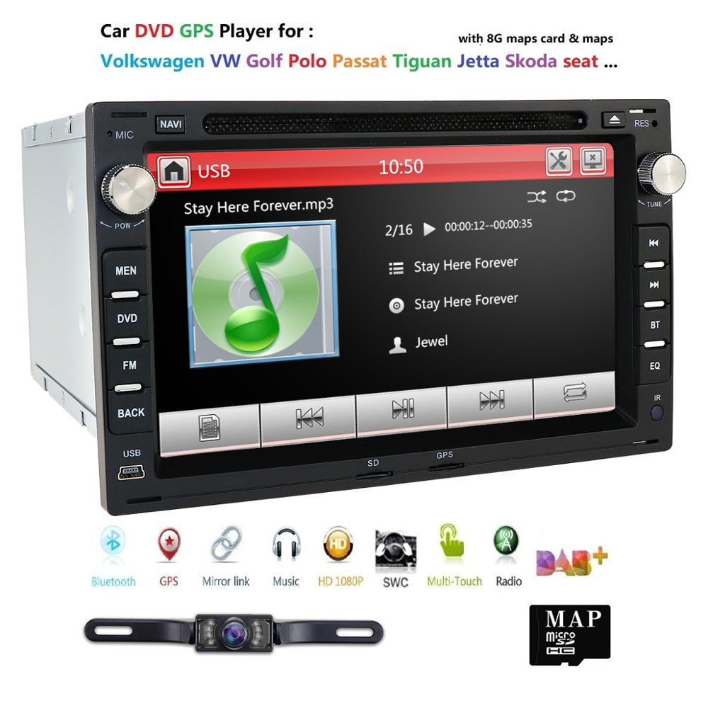 Car Multimedia Player For Volkswagen <font><b>VW</b></font> Passat B6 CC Polo <font><b>Golf</b></font> 4 5 Jetta Caddy T5 Bora Skoda Seat 2Din Radio Car DVD GPS dab+ EQ image