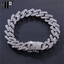Hip Hop 14MM Full Miami Curb Iced Out Zircon Paved Rhinestones Cuban Chain Bling Rapper Bracelet For Men Jewelry