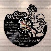 Mãe citação arte da parede do vintage vinil registro relógio de parede filha e mãe decorativo feliz dia das mães presente para ela