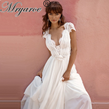 Mryarce 2020 Robe de mariée Lace V Neck Wedding Dress Open Back Chiffon A Line Bridal Gowns