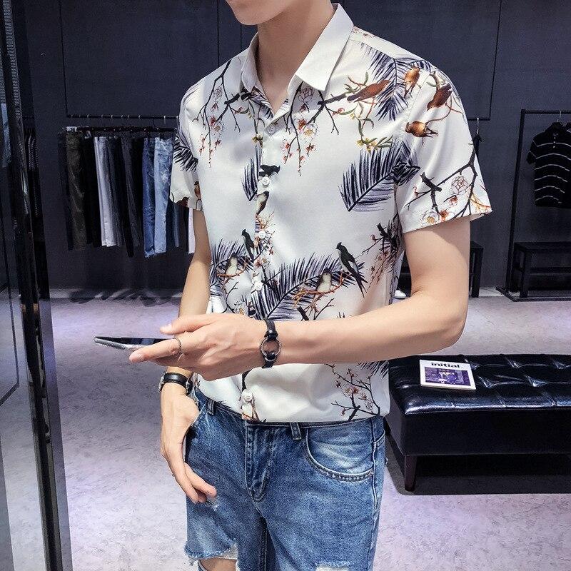Summer INS Super Fire New Style Short-sleeved Shirt Men Fold-down Collar Bird Printed Shirt Korean-style Slim Fit 1907-p50