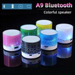 Altavoz A9 con Bluetooth, resplandeciente grieta, minialtavoz portátil para coche, Subwoofer Led, tarjeta de sonido en U