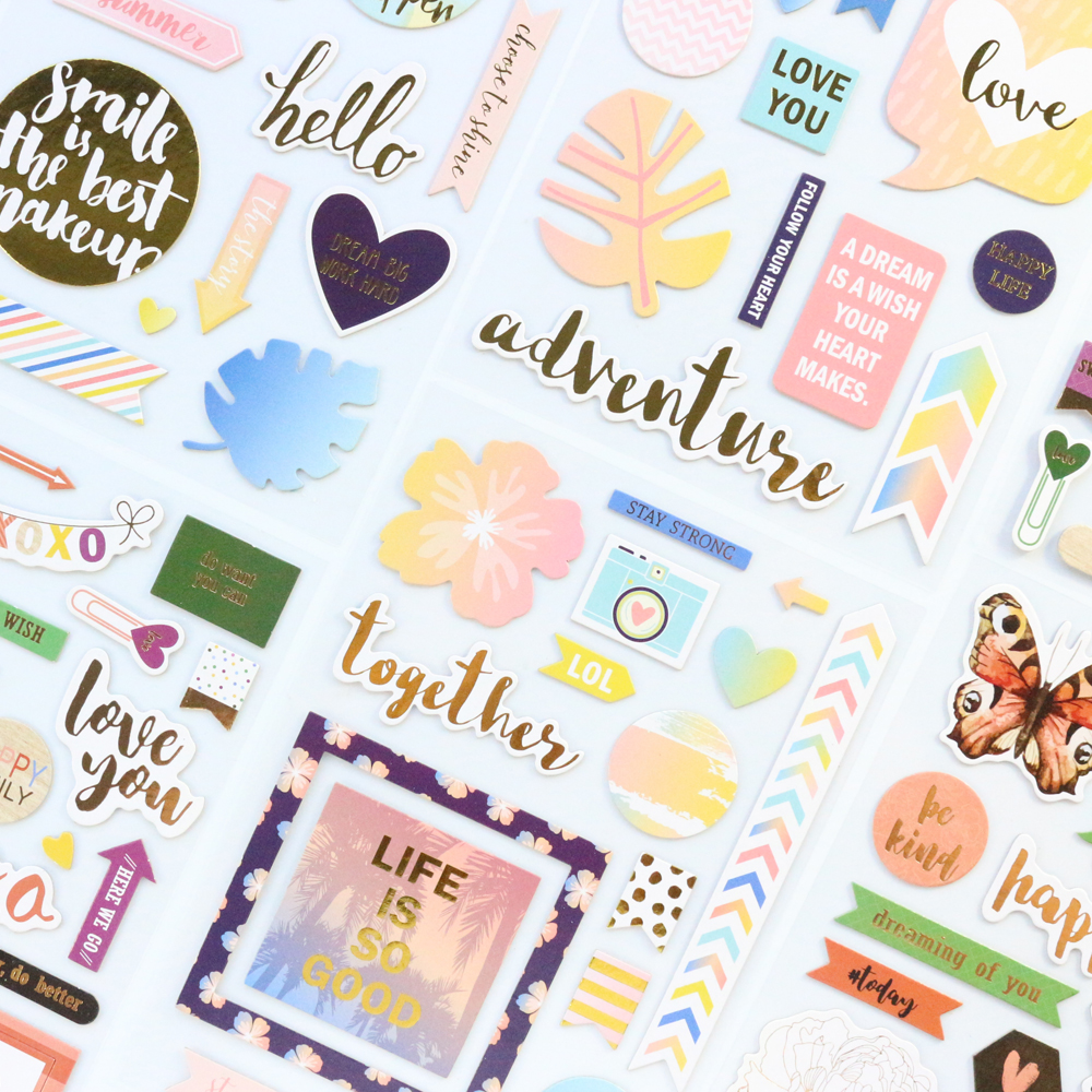 Domikee Cute Creative Gold Foil Paper Board Journal Diary Scrapbooking Photo DIY Decorative Stickers Stationery Supplies