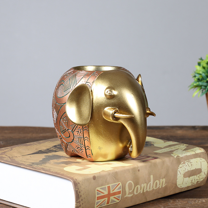 Strongwell Elephant Shape Pen Holders Crafts School Supplies Organizer Desk Accessories Home Decoration Creative Student Gifts in Figurines Miniatures from Home Garden