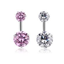 Surgical Steel Piercing Ombligo 1PC Atacado Zircon Style Crystal Body Jewelry Belly Button Ring Navel Piercing Women Accessories(China)