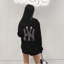 Plus size strass moda feminina casual manga longa sweatershirt 2021 inverno novas meninas jovens marca hoodlies