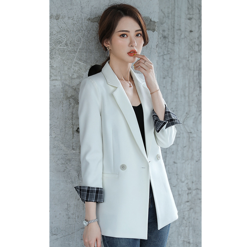 Women's Jacket 2019 Autumn New Casual Fashion Temperament Slim Slimming Solid Color Single Buckle Small Suit Women's Shirt