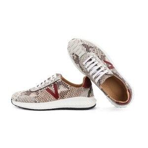 Image 2 - Authentic real pele python macio entulho sola unisex casual tênis exótico genuíno couro de cobra sapatos masculinos de renda