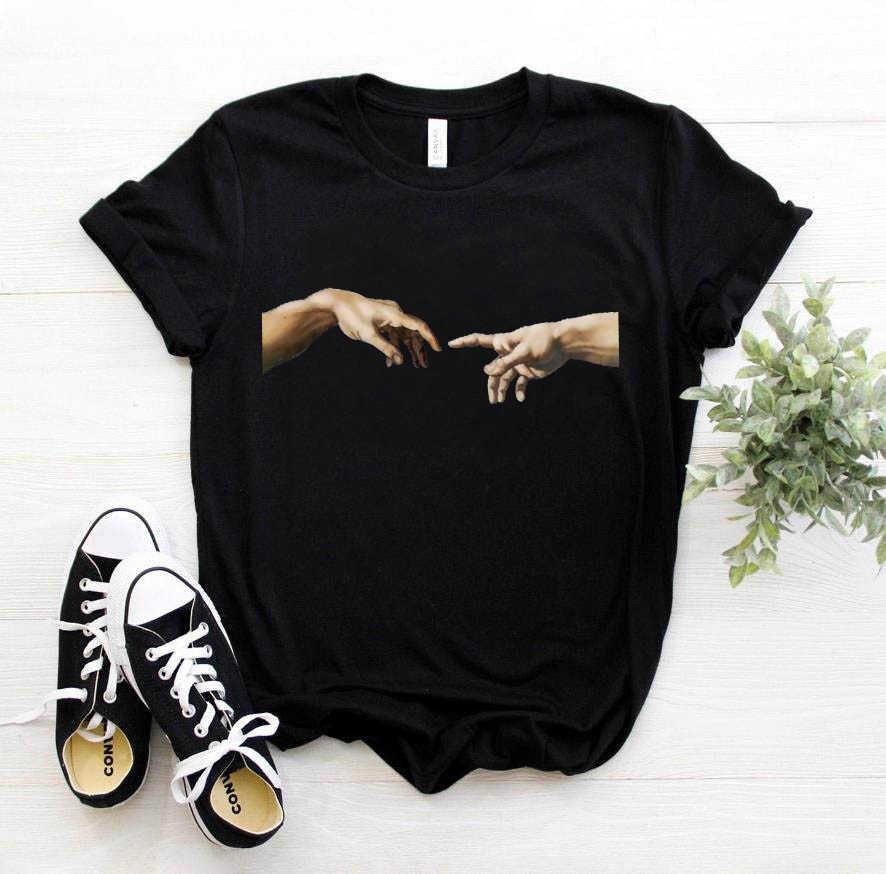 미켈란젤로 데이비드 핸드 프린트 여성 티셔츠 티셔츠 티셔츠 여성 의류 미학 하라주쿠 울장 그래픽 90s summer top