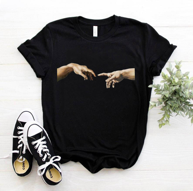 michelangelo david hands print women t shirt t-shirt tshirt femaale clothes aesthetic harajuku ulzzang graphic 90s summer top