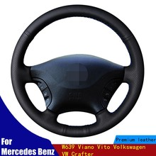 Car Steering Wheel Cover Wear-resistant DIY Black PU Artificial Leather For Mercedes Benz W639 Viano Vito Volkswagen VW Crafter