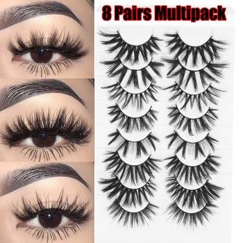 2020 New 8 pairs/Pack Mixed Styles 3D Mink Lashes Natural Wispy Criss-cross Fluffy Eyelash Soft Handmade Cruelty-free