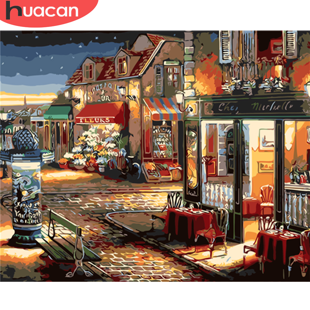HUACAN Painting By Numbers City Scenery Kits Drawing Canvas HandPainted Pictures Coloring Art Gift Home Decoration