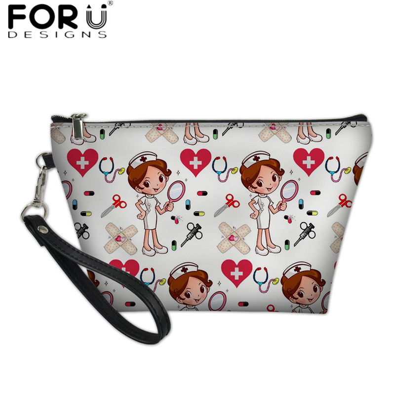 FORUDESIGNS Nurse Medical Doctor Pattern Cute Cosmetic Case Professional Make Up Bag For Women Fashion Toilet Bag Zipper Pouch