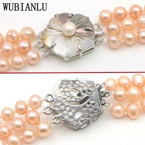Image 5 - WUBIANLU 3 Reihe 7 8mm Weiß Süßwasser Perle Halskette Kette Blumen Tasten Schmuck Frauen Mädchen Bankett 17  19 InchFashion Charming