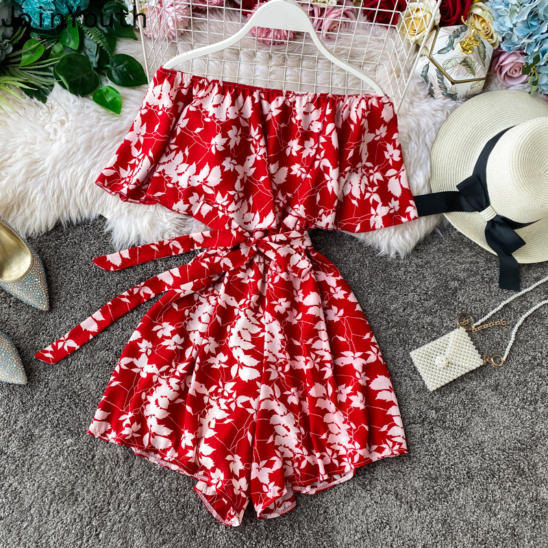 Joinyouth Floral Seaside Holiday Jumpsuits Ruffle Sexy Off Shoulder Women Rompers 2020 Summer Bow Tie Slim Waist Playsuits 57715