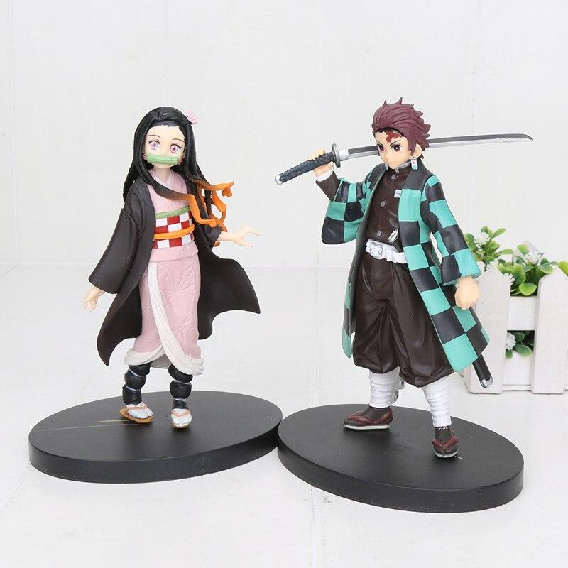 16cm Anime Demon Slayer Kimetsu No Yaiba Kamado Tanjirou Kamado Nezuko PVC Action Figure Warrior Model Figuals Toys Gifts