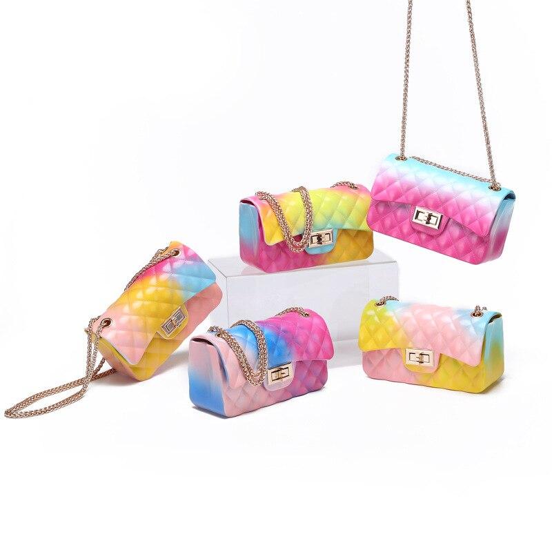 2020 Hot Sling Bags For Women Jelly Chain Bag Women's Rainbow PVC Bag Luxury Design Candy Summer Beach Bag Sac A Main Femme