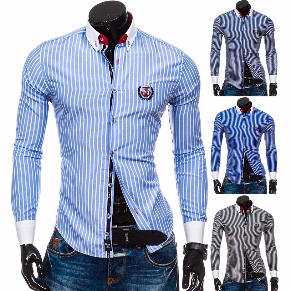 2018 Men Fashion Casual Long Sleeved Printed Shirt Slim Fit Male Social Business Dress Shirt Brand Men Clothing Soft Comfortable