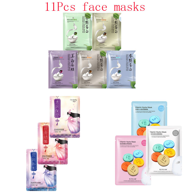 11Pcs mixed Silk protein Plant flowers vitamin Face Mask extraction Moisturizing Anti-Aging Facial Masks korean care skin