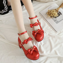 5CM high heels Korean version cute sweet princess bow buckle shallow mouth platform high heels fashion large size women's shoes(China)