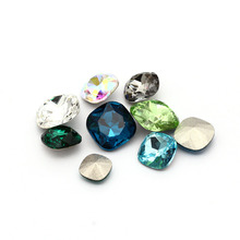 Astrobox Fat Square Rhinestones Crystal Point Back Cushion Stones PerfectStrass Fancy Jewelry For Sew On Clothes Glass Stones