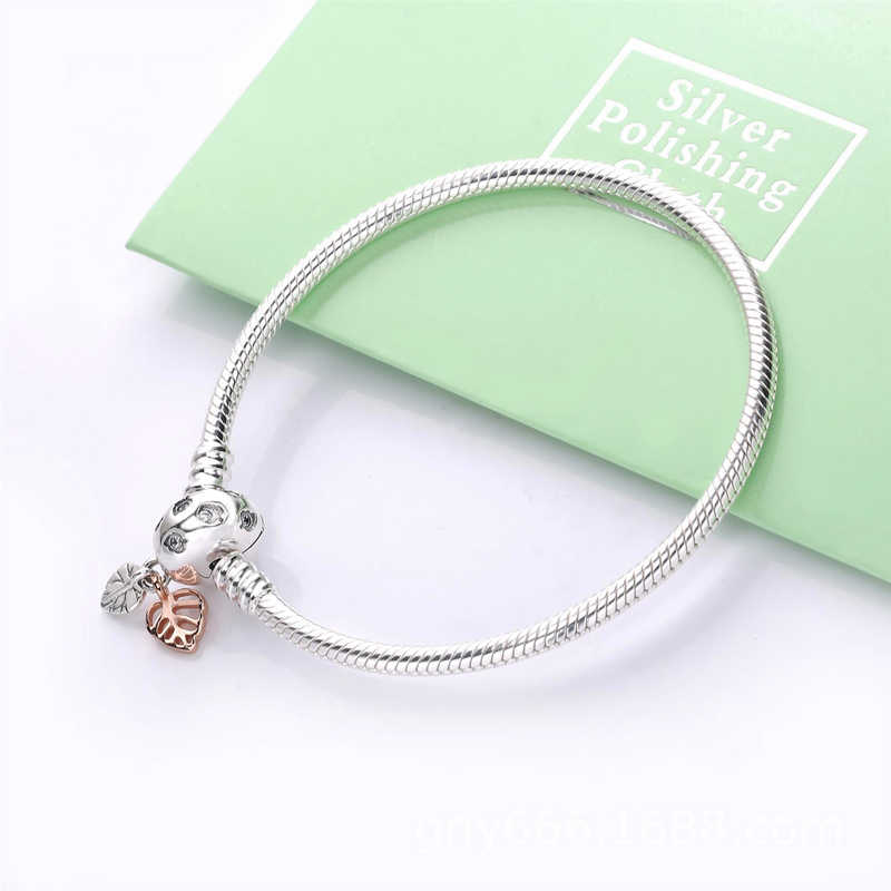 Authentic 925 Sterling Silver Moments Leaves & Snake Chain Bracelet Fit Original Pan Charms Bracelets For Women DIY Jewelry