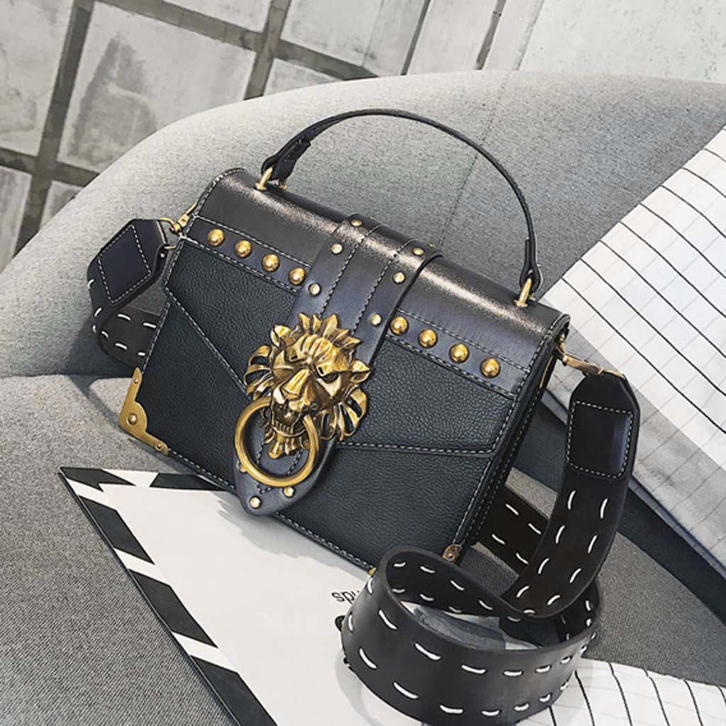 H671d3f0e09534b4690c952b1a6f6dc09B - Handbags Women Bags  Golden Lion Tote Bag With Zipper Fashion Metal Head Shoulder Bag Mini Square Crossbody Bag G3