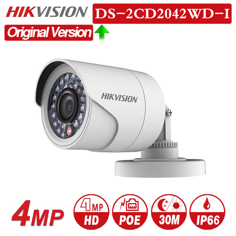 HIKVISION English Version DS-2CD2042WD-I 4MP POE Onvif Outdoor IP Camera 30m IR Distance IP66 weatherproof CCTV Security Camera image