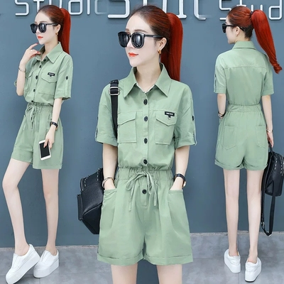 Summer New Korean Preppy Style White Overalls Safari Style Jumpshort Women Casual One Piece Jumpsuit Peter Pan Collar Playsuits