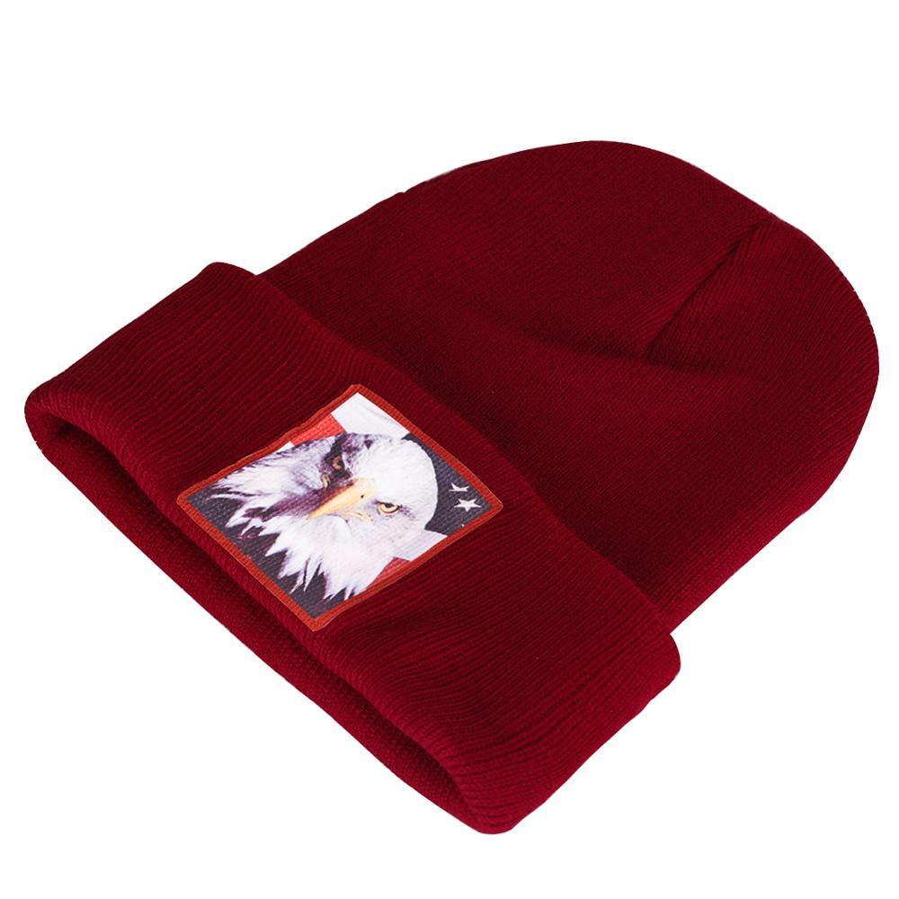 Winter Hats American Bald Eagle Beanies Women Knitted Cuffed Bonnet Skullies Men Brimless Hedging Caps Red Warm K Pop Kids
