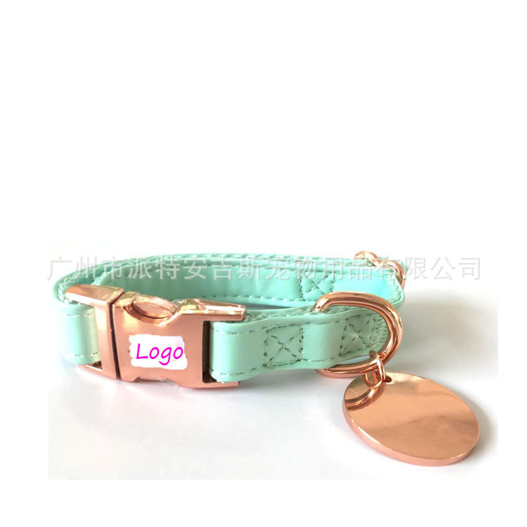 New Style Pu Genuine Leather Pet Collar Pu Bite-proof Protector Cat Neck Ring Rose Gold Release Buckle Dog Card