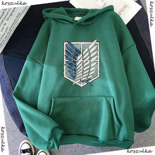 Sudadera con capucha de Anime para mujer, ropa de calle de manga larga con capucha de Attack on Titan, Harajuku, deportiva, verde, Unisex, G1, 2020