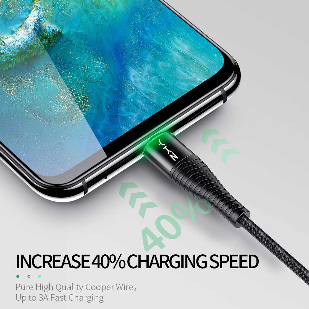 YKZ LED 3A USB tipo C Cable carga rápida de tipo-C para Samsung Galaxy Xiaomi Huawei teléfono móvil USB C USB-C del cargador del Cable