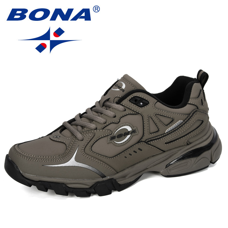 BONA 2020 New Designers Action Leather Running Shoes Men Athletic Trainers Zapatillas Sports Shoes Man Outdoor Walking Sneakers