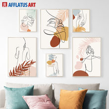 Abstract Plant Leaves Girl Figure Wall Art Canvas Painting Nordic Posters And Prints Wall Pictures For Living Room Home Decor(China)