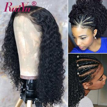 Short Curly Human Hair Wigs For Women 13X6 Bob Lace Front Human Hair Wigs Peruvian Remy Human Hair Frontals RUIYU 180 Density tanie i dobre opinie Krótki Kręcone Koronki przodu peruk Remy włosy Ludzki włos Pół maszyny wykonane i pół ręcznie wiązanej Swiss koronki