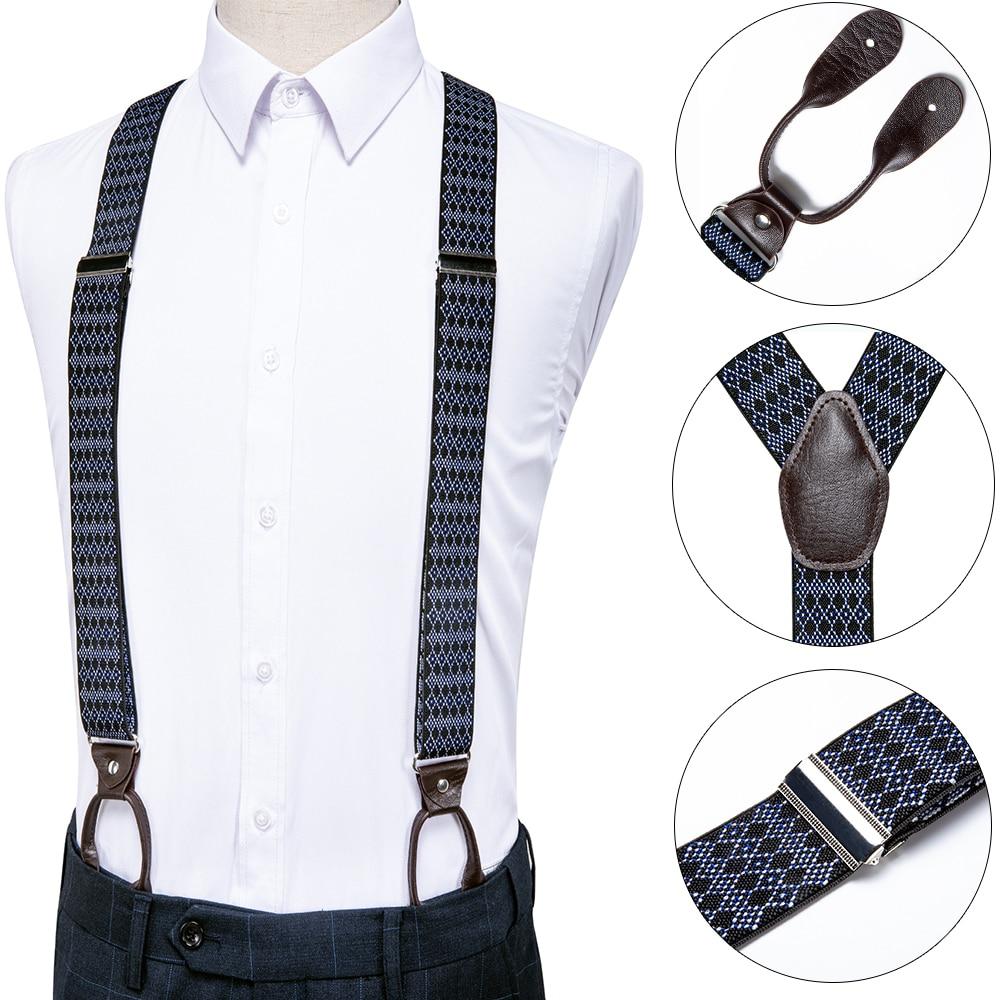DiBanGu Silk Adult Men's Suspender Leather Metal 6 Buttons Braces Blue Black Vintage Men Elastic Wedding Suspender Men BD-521
