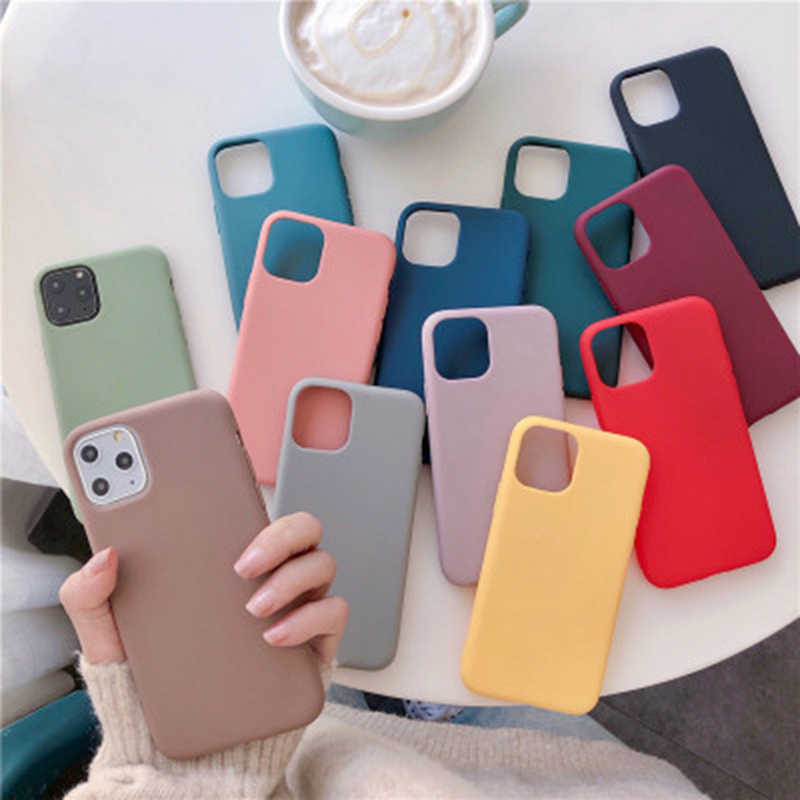 円滑な固体色 Funda 用 iPhone 11 XR 8 ケースソフトシリコン 6s 6 7 8 プラス × XR XS 11 プロマックスケース耐衝撃キャパ